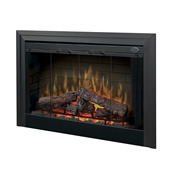 Black electric fireplace insert with large frame and red glowing logs inside