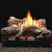 Realistic ceramic gas logs ablaze on a black cast iron fireplace grate