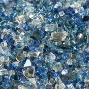 Iridescent fire glass with in shades of blue and clear