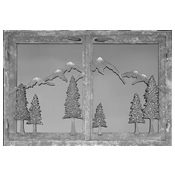 Fireplace door with iron trim and scenic mountain design