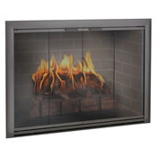 Black corner fireplace with clear glass door and glowing fire inside