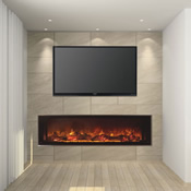 Contemporary black linear electric fireplace with vibrant orange flames beneath a television mounted on a living room wall