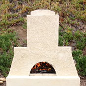 masonry style outdoor pizza oven with fire