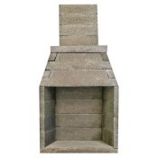 masonry stone outdoor fireplace with sitting area